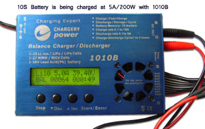 10S battery being charged at 5A 200W